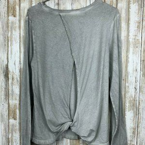 Anthropologie Cloth & Stone Gray Top Blouse L